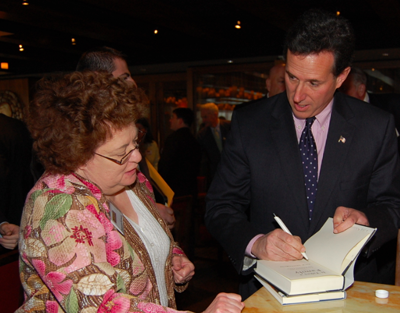 Santorum signs book