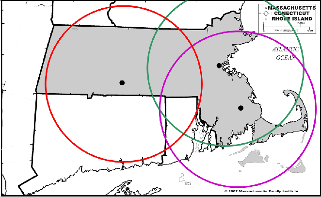 Proposed Massachusetts CasinosThe National Gambling Impact Study Commission found that casinos double gambling addiction wihtin a 50 mile radius.  Depicted above are the three likely locations for the proposed casinos.